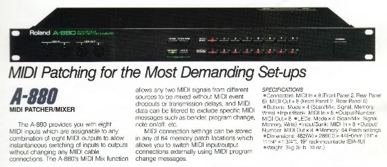 roland a 880 1988 8in 8out midi patcher mixer rh oldschooldaw com roland a-880 service manual roland jv 880 manual
